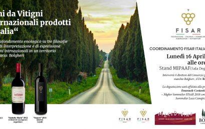 """""""Vini da Vitigni Internazionali prodotti in Italia"""" BOLGHERI – A Vinitaly la degustazione con la partecipazione di MareDivino"""